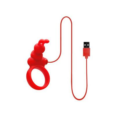 cockring vibrant via usb en silicone rouge