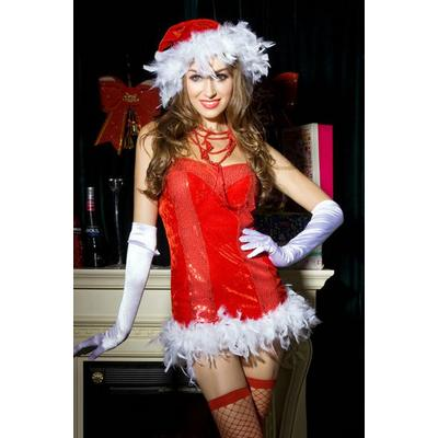 robe sexy mere noel avec string et bas rouge